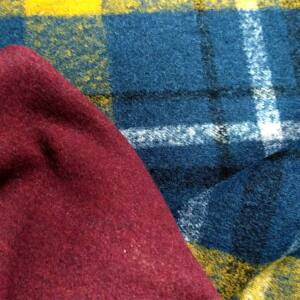 Kétfalas kötött gyapjú textil – Kék és sárga skót kockás mintával, kétoldalas
