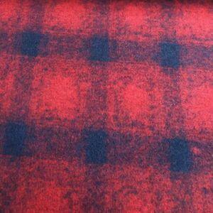 Kétfalas kötött gyapjú textil  – Piros és fekete kockás mintával