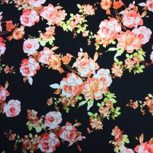 Scuba – Narancsos árnyalatú fényes rózsa virágmintával