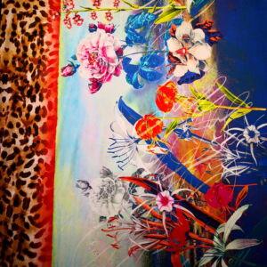 Jég jersey – Leopárd mintás sávval, nagyméretű virágmintával