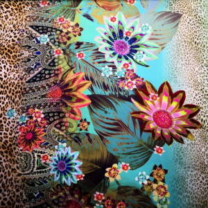 Jég jersey – Leopárd mintás bordűrrel, virág mintával, kék