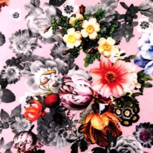 Scuba – Színes és szürke virágmintával, rózsaszín alapon