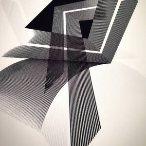 Poliészter jersey – Fekete geometriai mintával
