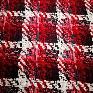 Viszkóz jersey – Piros és fekete nagy kockás mintával