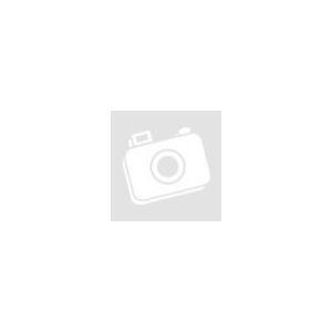 Poliészter jersey – Fekete csíkos alapon kék virágos mintával