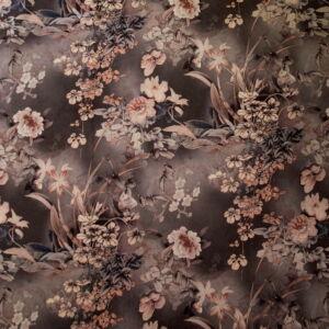 Scuba Velúr – Barna színvilágú virág mintával