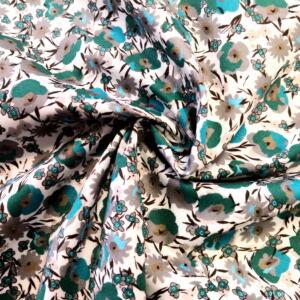Puplin – Kék és zöld kis virág mintával, elasztikus