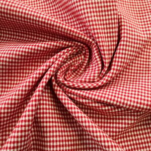 Elasztikus pamutszövet – Piros kis kockás mintával