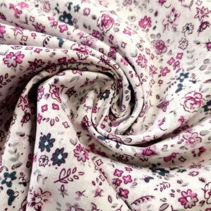 Puplin – Fehér alapon rózsaszín kis virágos mintával