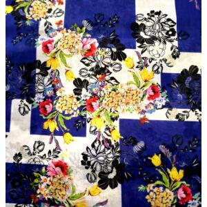 Batiszt – Kék kockás alapon színes virágmintával