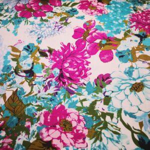 Lenvászon – Színes virágos mintával, türkizkék árnyalatban