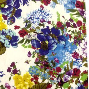 Lenvászon – Színes virágos mintával, sötétkék árnyalatban