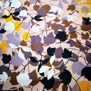 Elasztikus vászon – Mályva színű alapon színes levél mintával