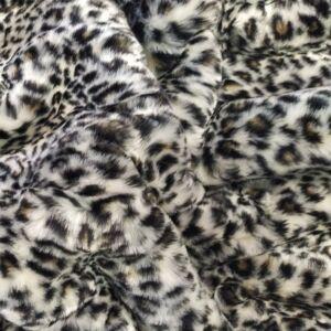 Műszőrme – Fekete és fehér leopárd mintával