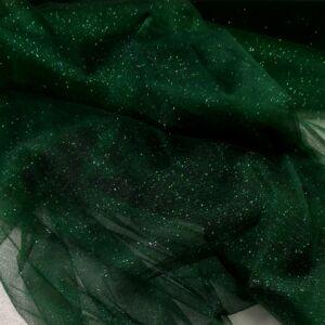 Mesh Tüll – Sötétzöld színben, csillogó