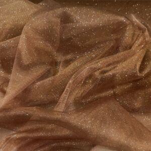 Mesh Tüll – Karamell barna színben, csillogó