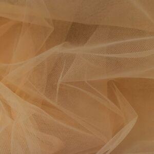 Lágy tüll – Karamell barna színben, extra széles