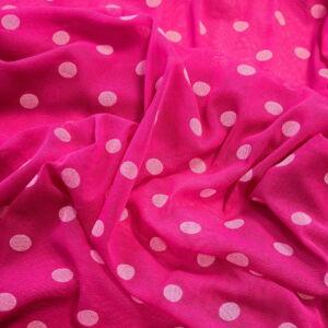 Lágy tüll – Pink alapon fehér pöttyös mintával