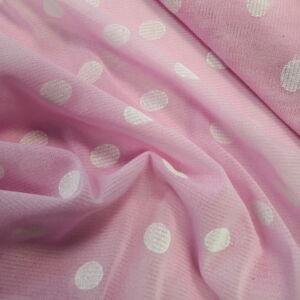 Lágy tüll – Rózsaszín alapon fehér pöttyös mintával