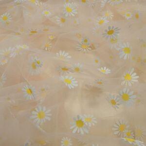 Lágy tüll – Virág mintával, barack alapon