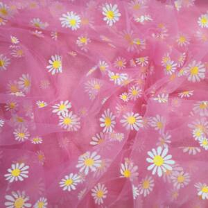 Lágy tüll – Virág mintával, rózsaszín alapon