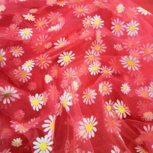 Lágy tüll – Virág mintával, korall alapon