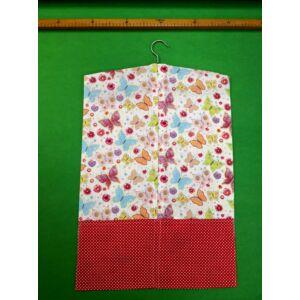 Vállfás ovis zsák – Pillangós mintával, pöttyös piros zsebekkel