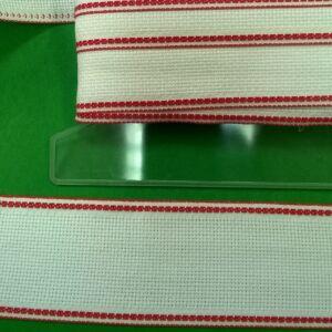 Hímző szalag 5cm - Fehér színben, piros szegéllyel