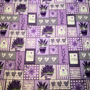 Pamutvászon – Levendula LOVE, patchwork mintával