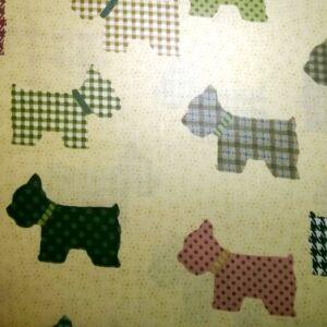 Pamutvászon – Mintás kutyusokkal, sárga alapon