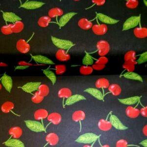 Pamutvászon – Cseresznye mintával, fekete alapon