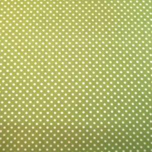 Pamutvászon – Fűzöld, fehér 2mm pöttyös mintával