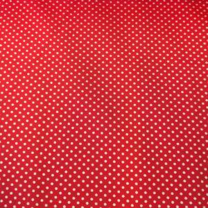 Pamutvászon – Piros, 2mm fehér pöttyös mintával
