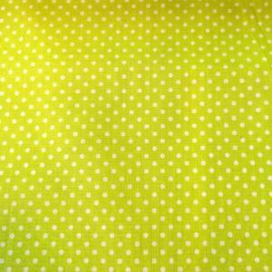 Pamutvászon – Kivi zöld, fehér 2mm pöttyös mintával