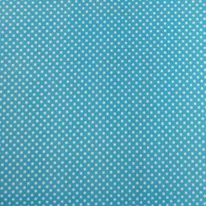Pamutvászon – Türkizkék, fehér 2mm pöttyös mintával