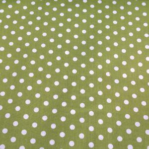 Pamutvászon – Fűzöld, fehér 6mm pöttyös mintával