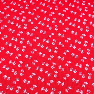 Pamutvászon – Piros színben, masni mintával