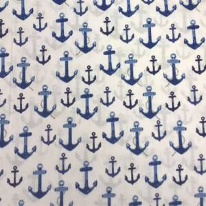 Pamutvászon – Nagyméretű vasmacska mintával, kék színben