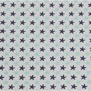 Pamutvászon – Sötét- és világoskék tengeri csillag mintával