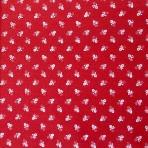 Pamutvászon – Piros alapon fehér virág mintával