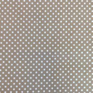 Pamutvászon – Bézs, fehér 2mm pöttyös mintával