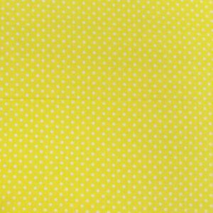 Pamutvászon – Citromsárga, fehér 2mm pöttyös mintával