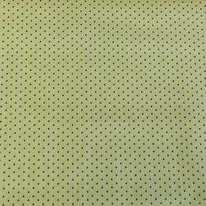 Pamutvászon – Halván zöld, szürke 2mm pöttyös mintával