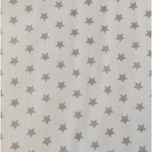 Pamutvászon – Fehér színben, szürke csillag mintával