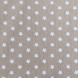 Pamutvászon – Bézs színben, fehér csillag mintával
