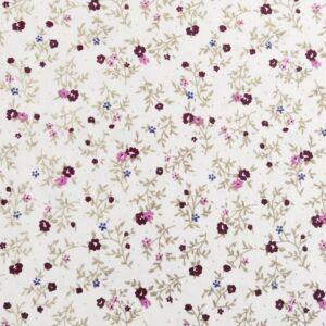 Pamutvászon – Apró bordó virág mintával