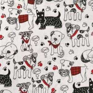Pamutvászon – Piros kiegészítős kutya mintával