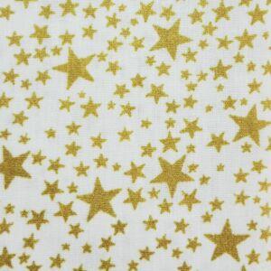 Pamutvászon – Arany színű csillag mintával, fehér alapon