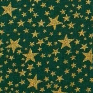 Pamutvászon – Arany színű csillag mintával, sötétzöld alapon