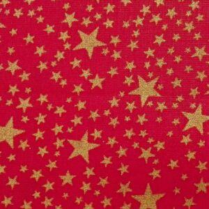 Pamutvászon – Arany színű csillag mintával, piros alapon